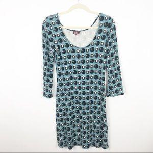 Salaam Blue Kiwi Fruit Print Dress